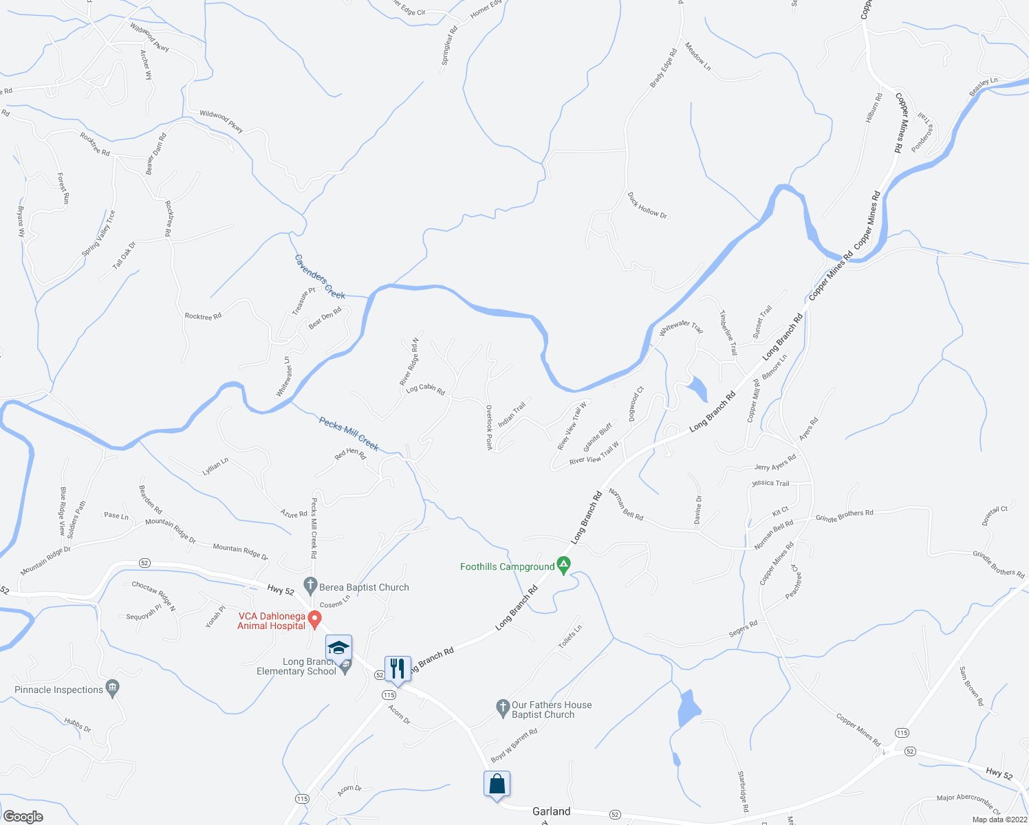 map of restaurants, bars, coffee shops, grocery stores, and more near 148 Overlook Point in Dahlonega