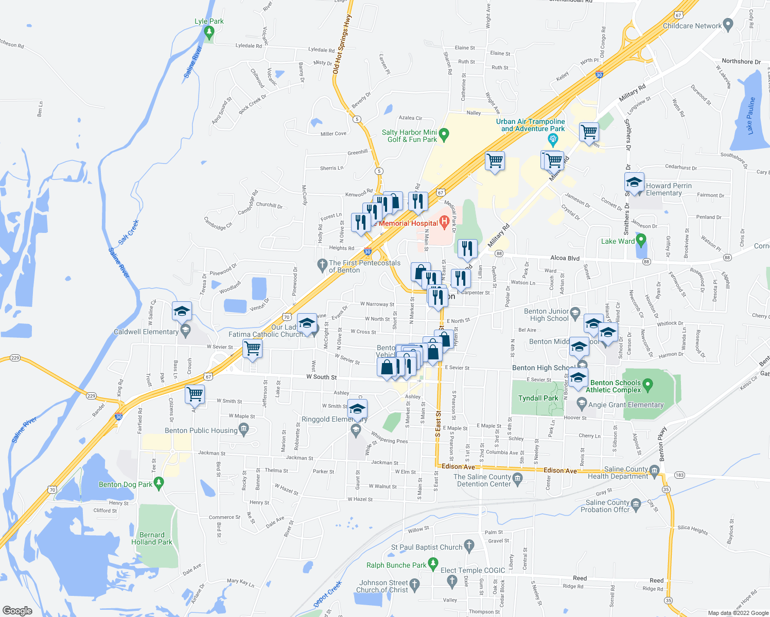 map of restaurants, bars, coffee shops, grocery stores, and more near 318 West Narroway Street in Benton