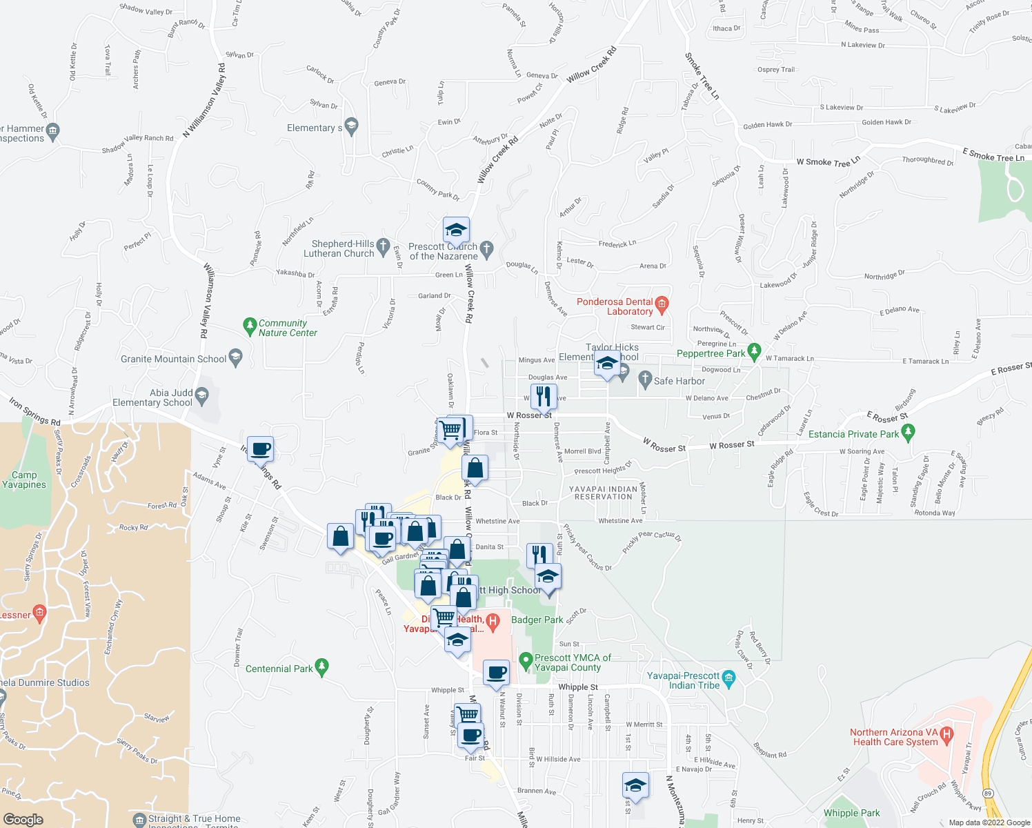 map of restaurants, bars, coffee shops, grocery stores, and more near W Rosser St & Northside Dr in Prescott