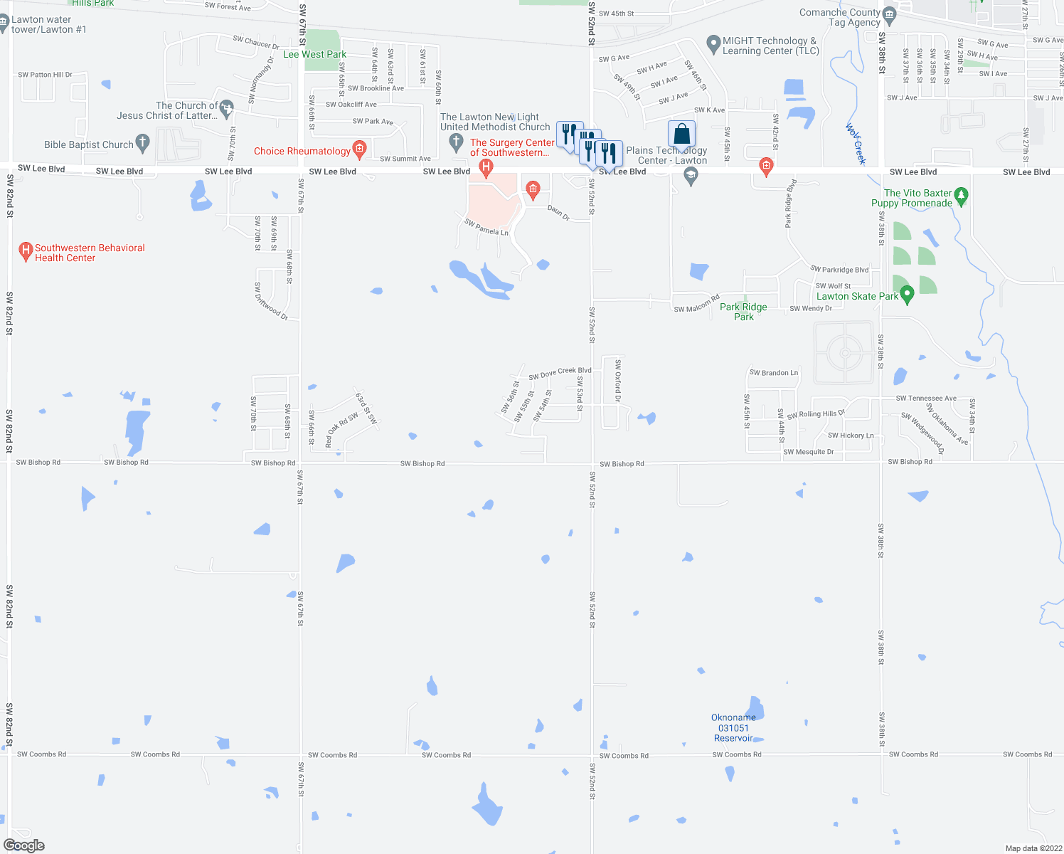 map of restaurants, bars, coffee shops, grocery stores, and more near 2404 Southwest 54th Street in Lawton