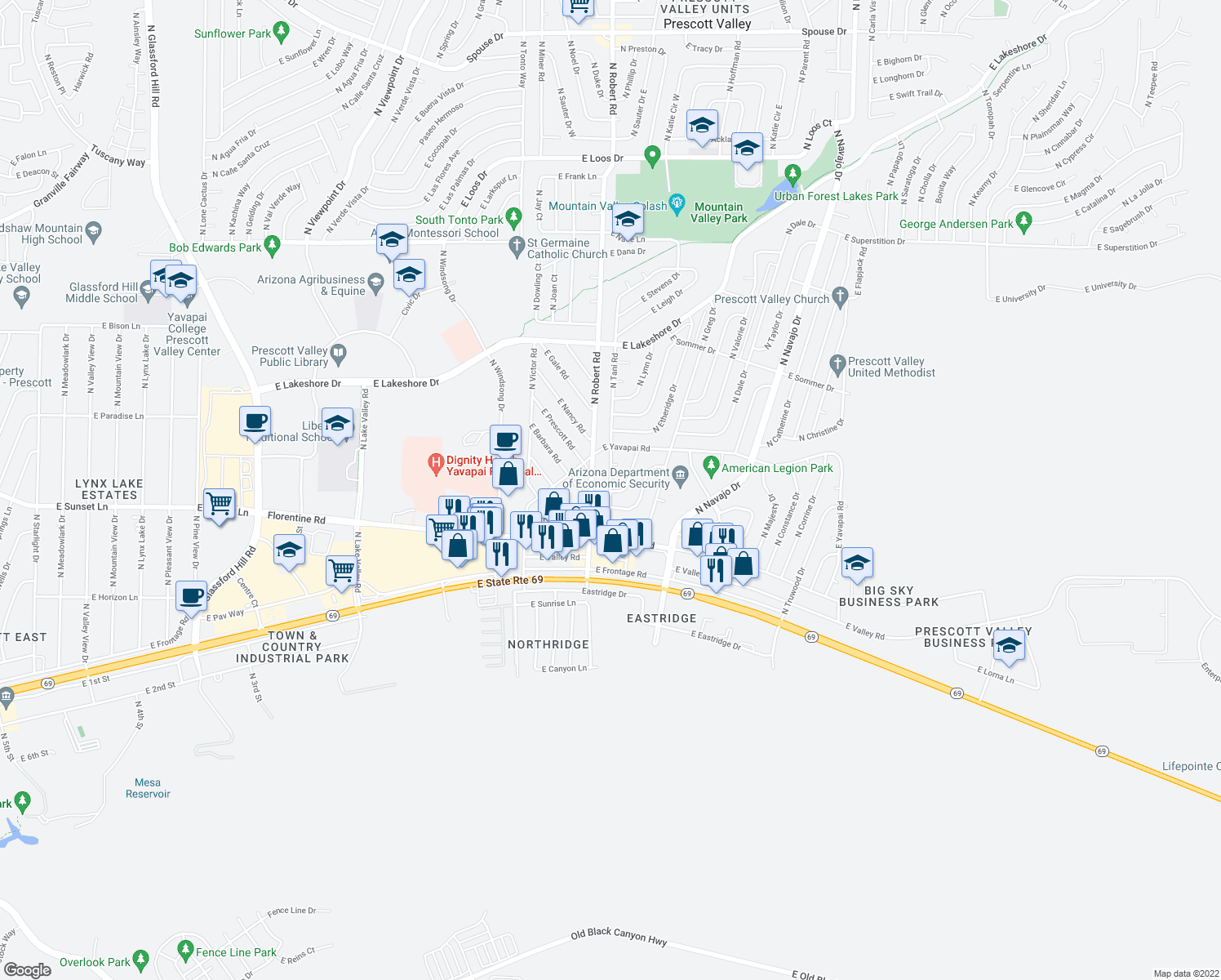 map of restaurants, bars, coffee shops, grocery stores, and more near 3243 North Robert Road in Prescott Valley