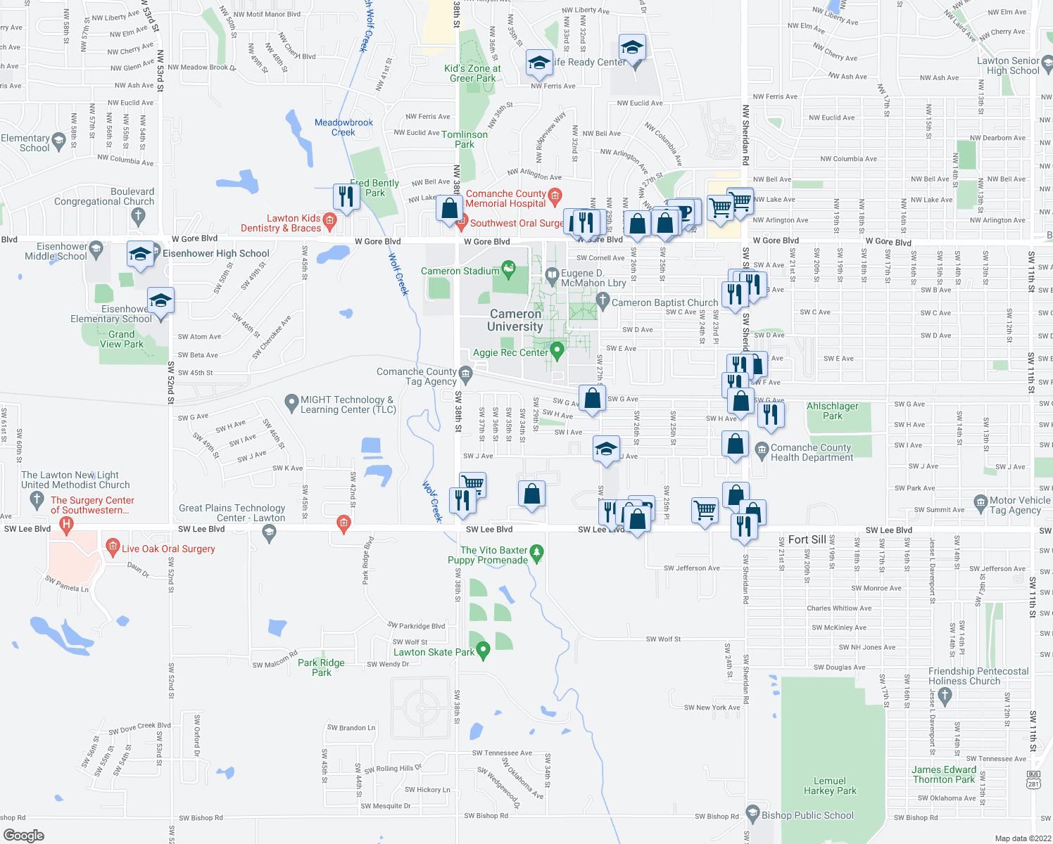 map of restaurants, bars, coffee shops, grocery stores, and more near 923 Southwest 34th Street in Lawton