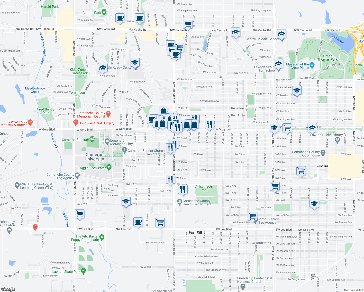 map of restaurants, bars, coffee shops, grocery stores, and more near 2202 Southwest B Avenue in Lawton