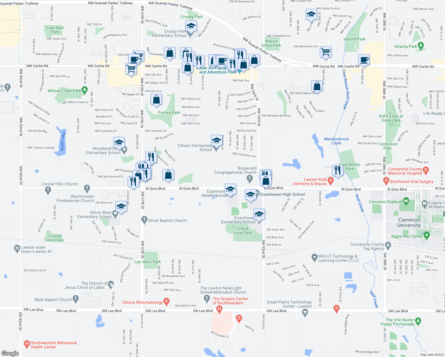 map of restaurants, bars, coffee shops, grocery stores, and more near 4 Northwest 58th Street in Lawton