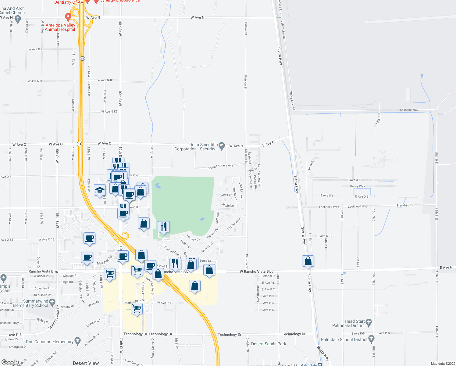 map of restaurants, bars, coffee shops, grocery stores, and more near 40140 Pevero Court in Palmdale