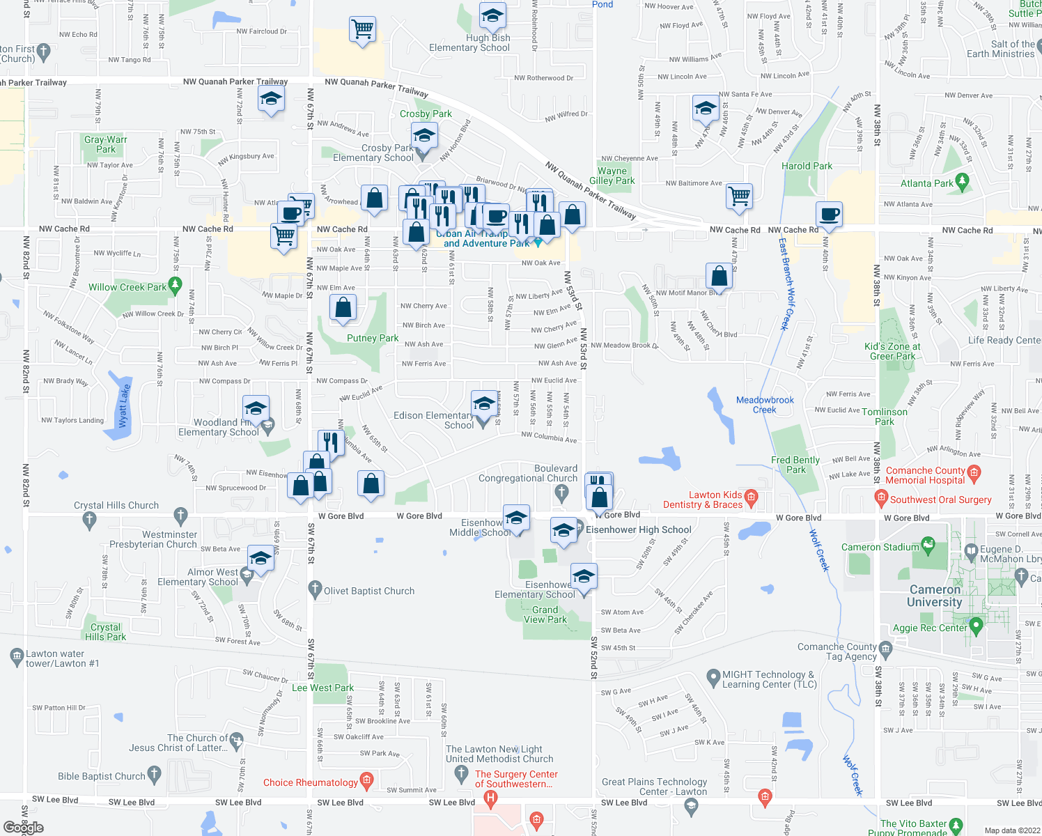 map of restaurants, bars, coffee shops, grocery stores, and more near 407 Northwest 57th Street in Lawton