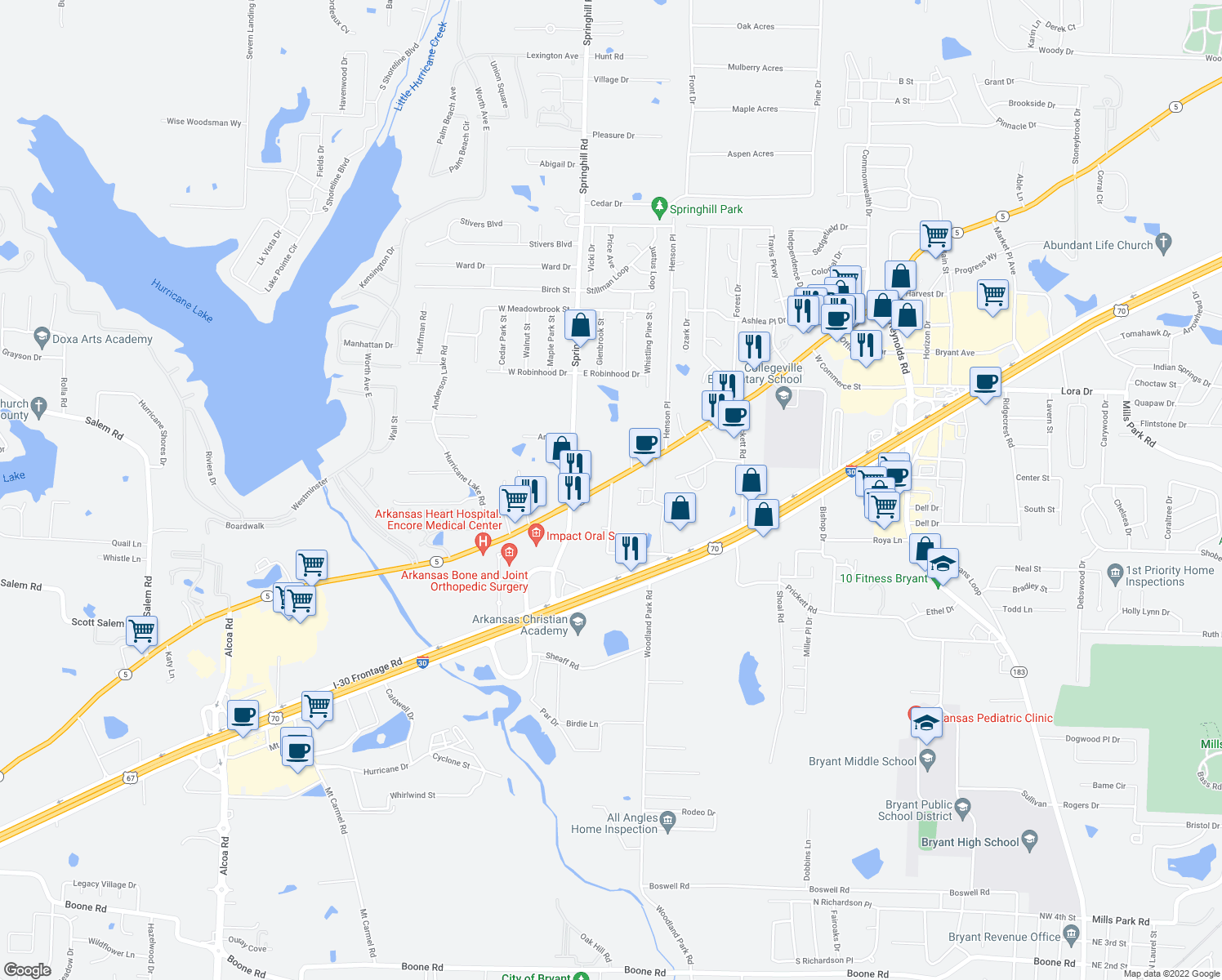 map of restaurants, bars, coffee shops, grocery stores, and more near 3801 Arkansas 5 in Bryant