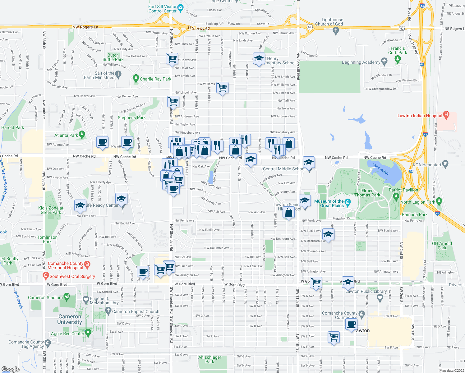 map of restaurants, bars, coffee shops, grocery stores, and more near 811 Northwest 17th Street in Lawton