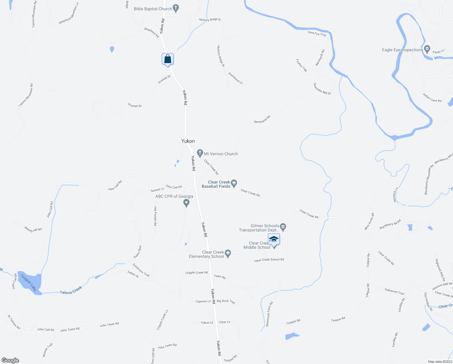 map of restaurants, bars, coffee shops, grocery stores, and more near 453 Clear Creek Road in Ellijay