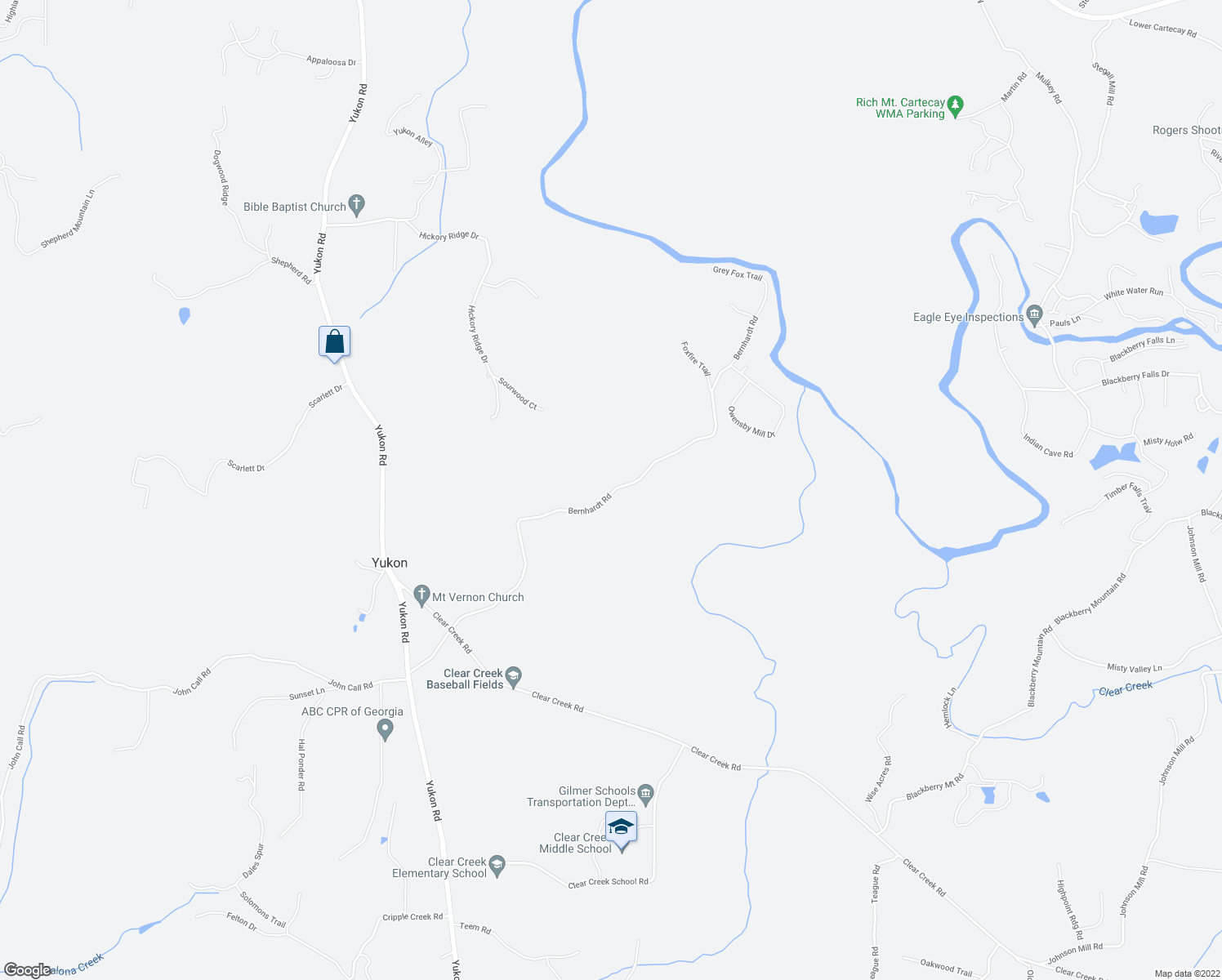 map of restaurants, bars, coffee shops, grocery stores, and more near Bernhardt Road in Ellijay