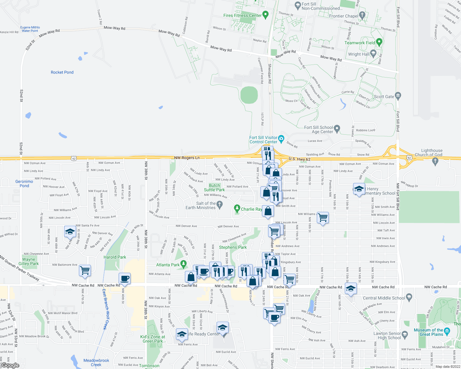 map of restaurants, bars, coffee shops, grocery stores, and more near 2233 Northwest Pollard Avenue in Lawton
