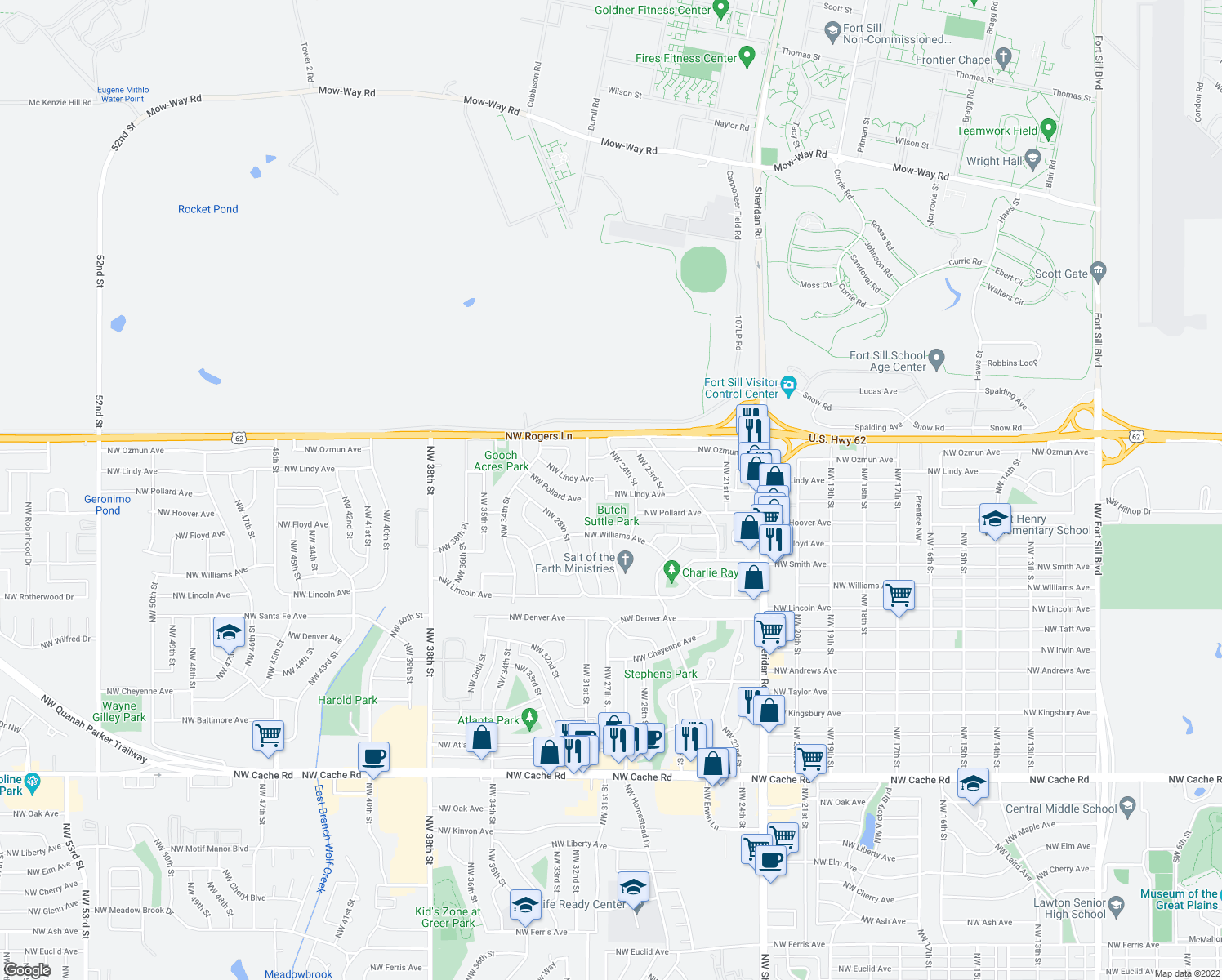 map of restaurants, bars, coffee shops, grocery stores, and more near 2412 Northwest Lindy Avenue in Lawton
