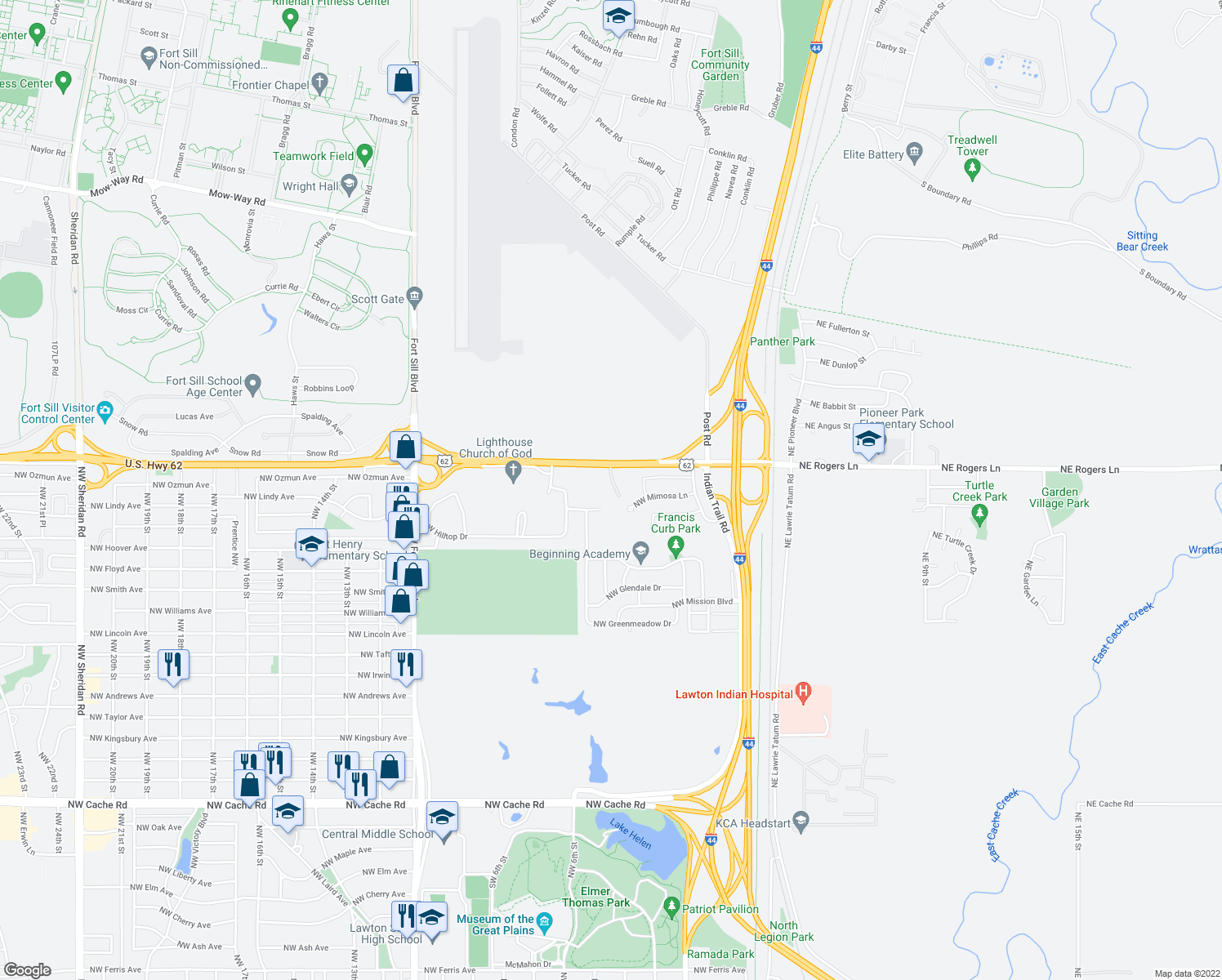 map of restaurants, bars, coffee shops, grocery stores, and more near 402 Northwest Rogers Lane in Lawton
