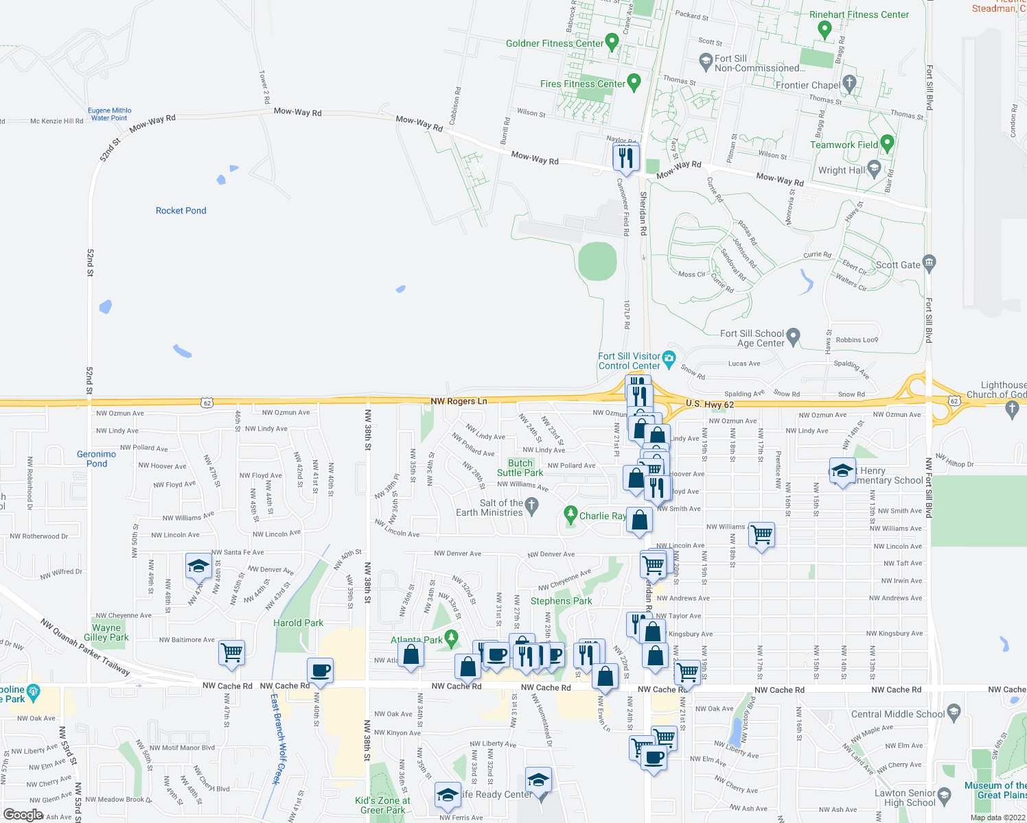 map of restaurants, bars, coffee shops, grocery stores, and more near 2905 Northwest 24th Street in Lawton
