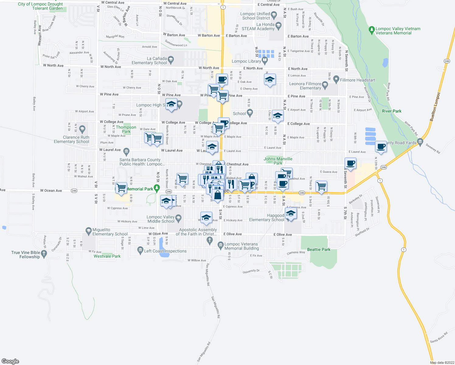 map of restaurants, bars, coffee shops, grocery stores, and more near 129 N G St in Lompoc