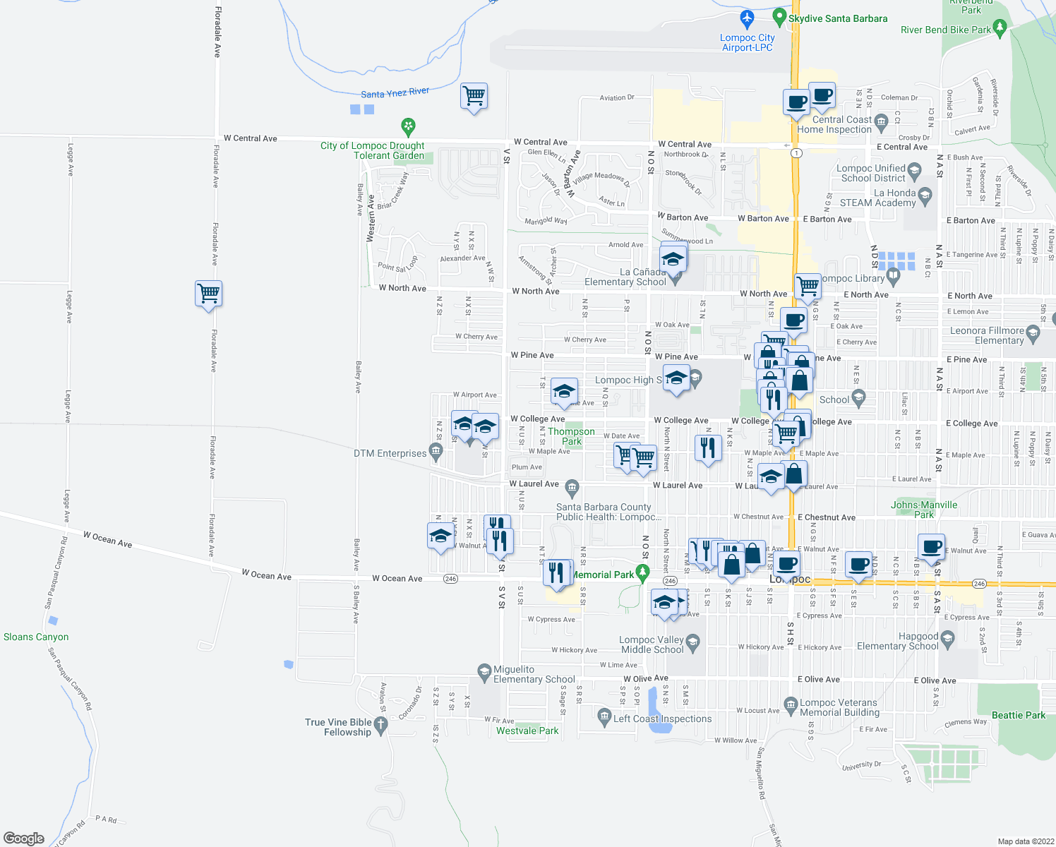map of restaurants, bars, coffee shops, grocery stores, and more near 536 North U Street in Lompoc