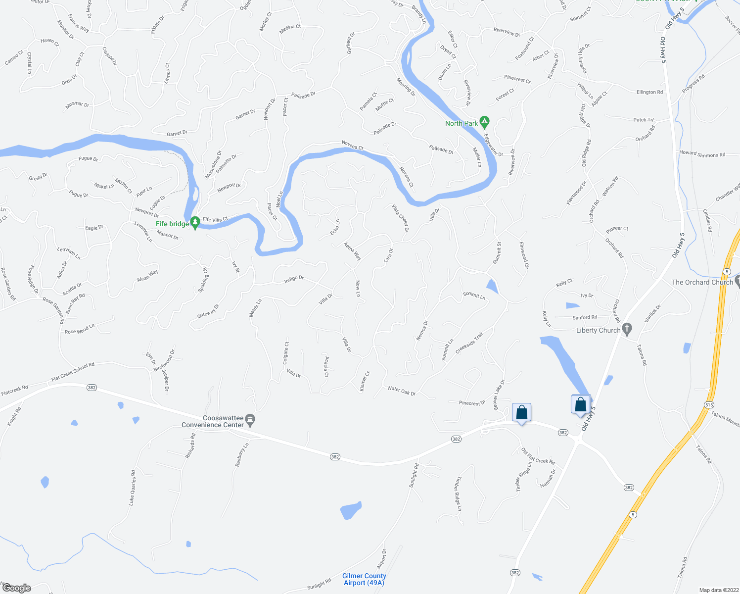 map of restaurants, bars, coffee shops, grocery stores, and more near 448 Villa Drive in Ellijay