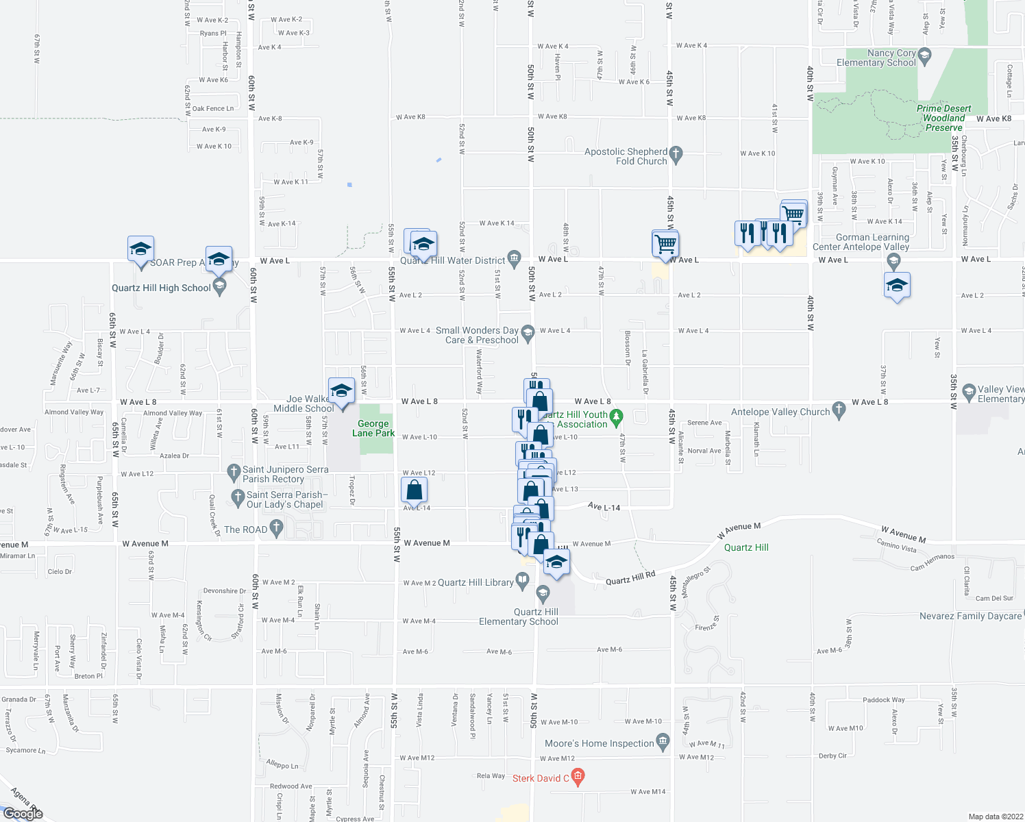 map of restaurants, bars, coffee shops, grocery stores, and more near 5036 West Avenue L8 in Lancaster
