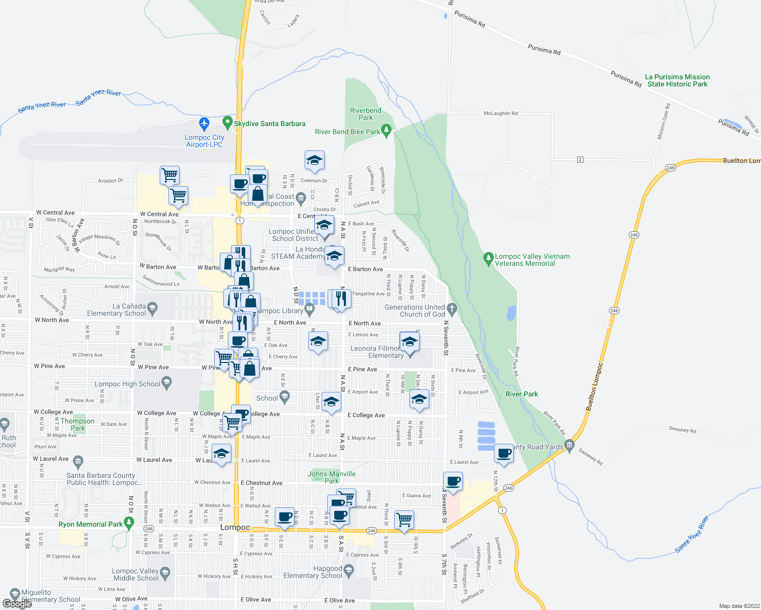 map of restaurants, bars, coffee shops, grocery stores, and more near 1028 Jasmine Street in Lompoc