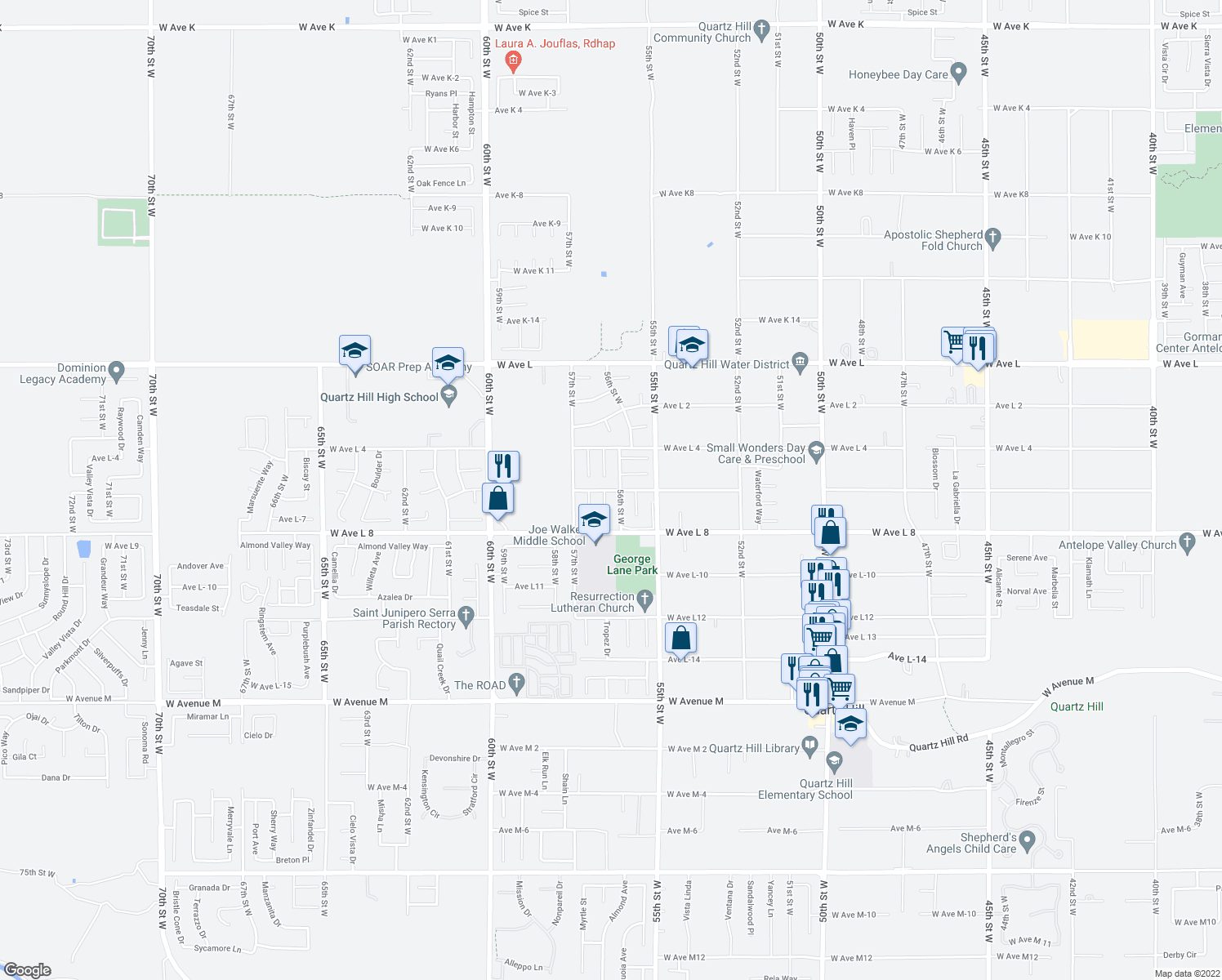 map of restaurants, bars, coffee shops, grocery stores, and more near 42456 Coronet Court in Quartz Hill