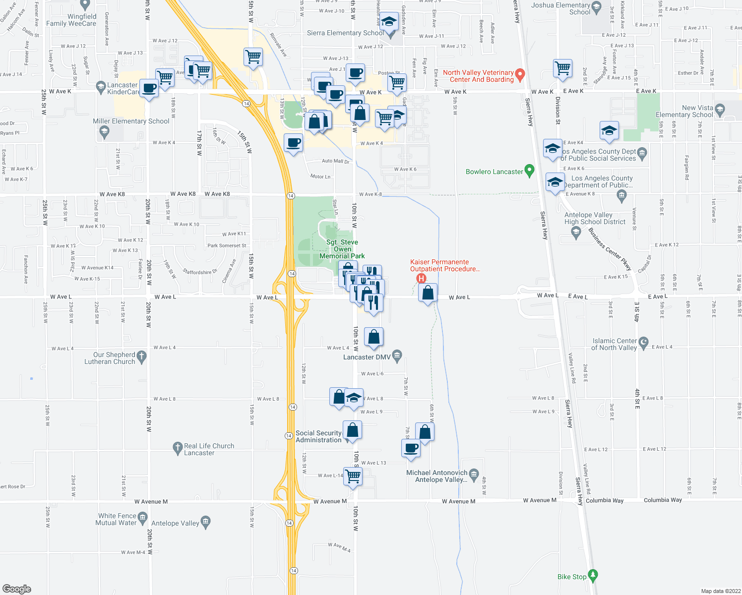 map of restaurants, bars, coffee shops, grocery stores, and more near 835 West Avenue L in Lancaster