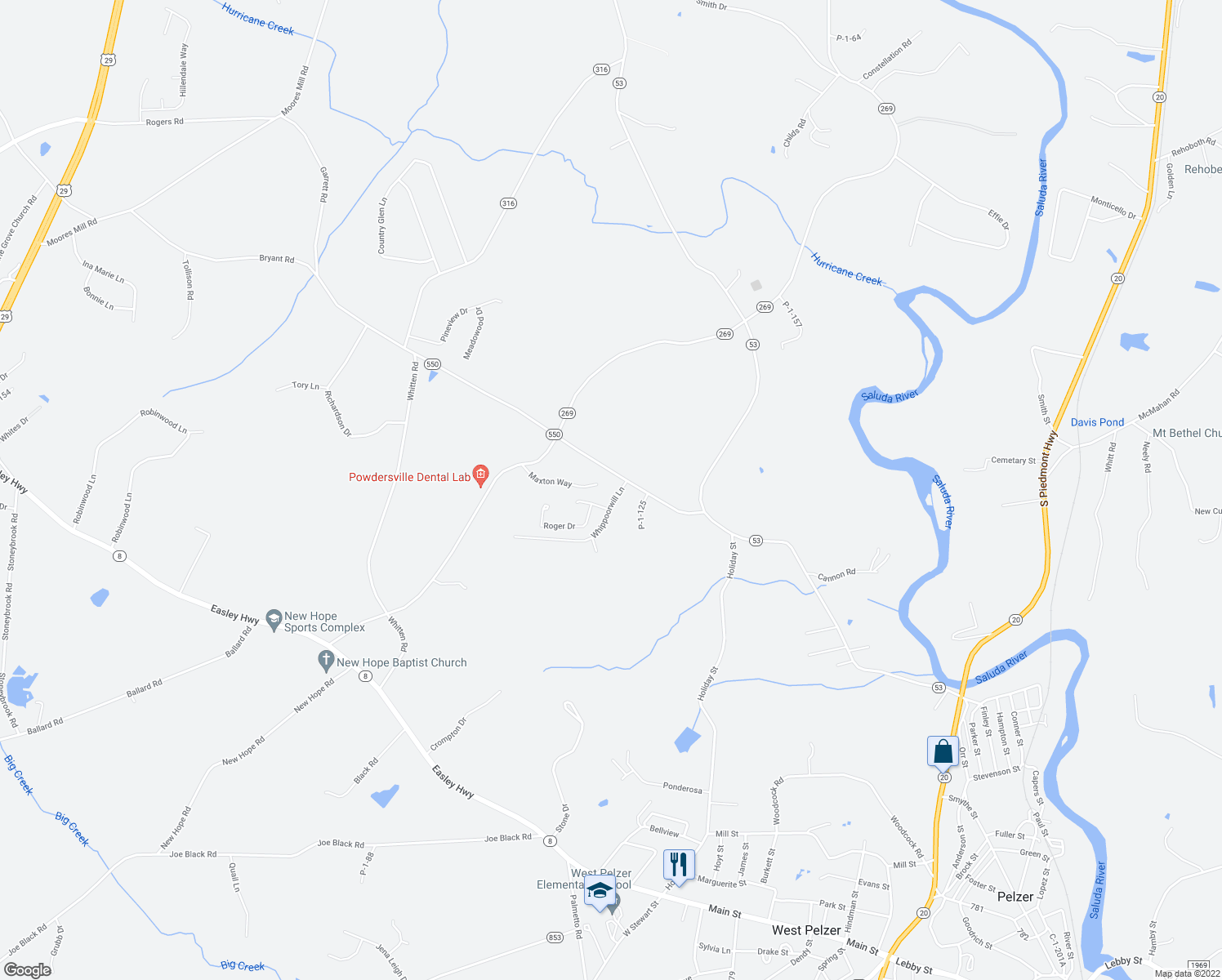 map of restaurants, bars, coffee shops, grocery stores, and more near 110 Whippoorwill Lane in Pelzer