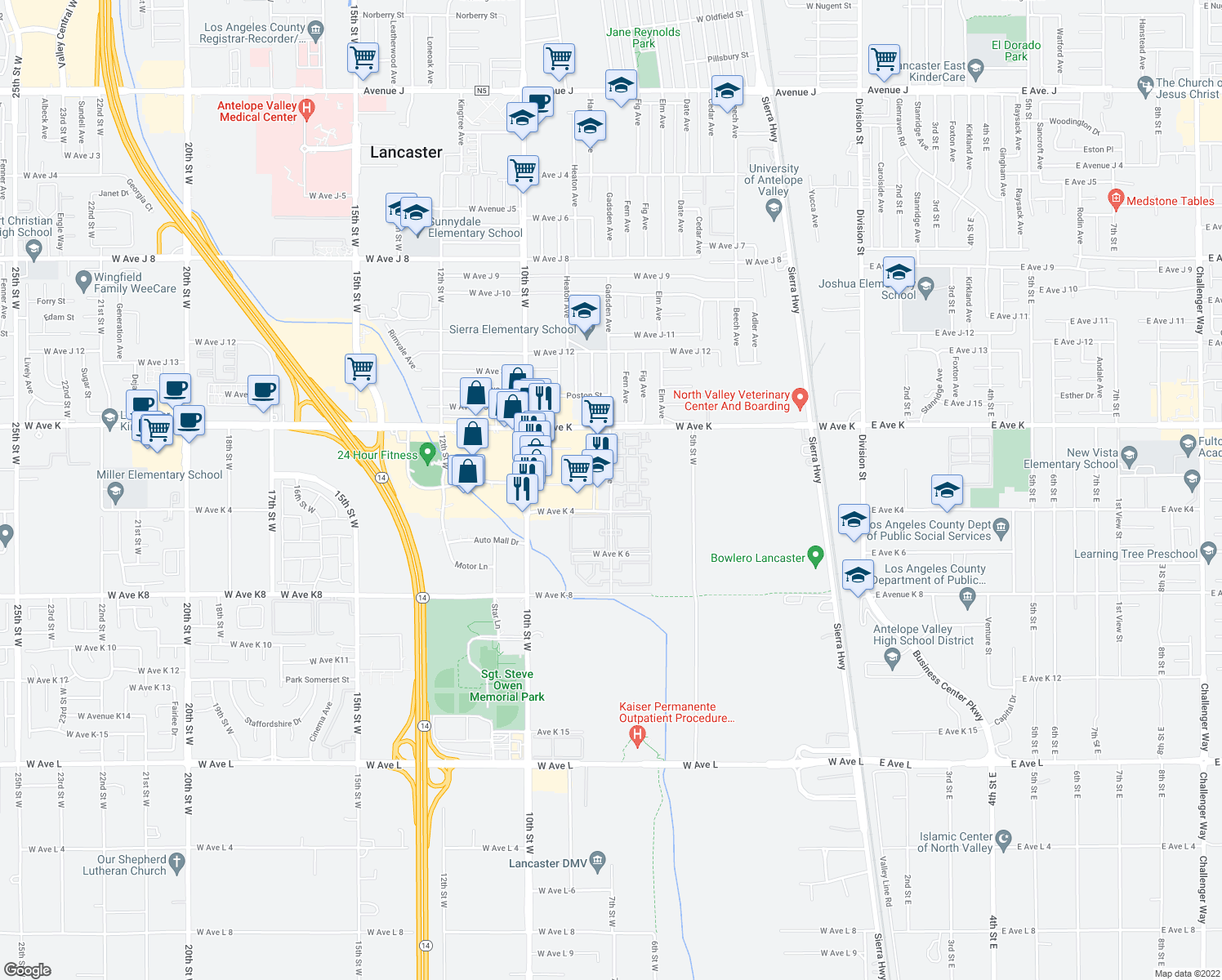 map of restaurants, bars, coffee shops, grocery stores, and more near Gadsden Avenue in Lancaster