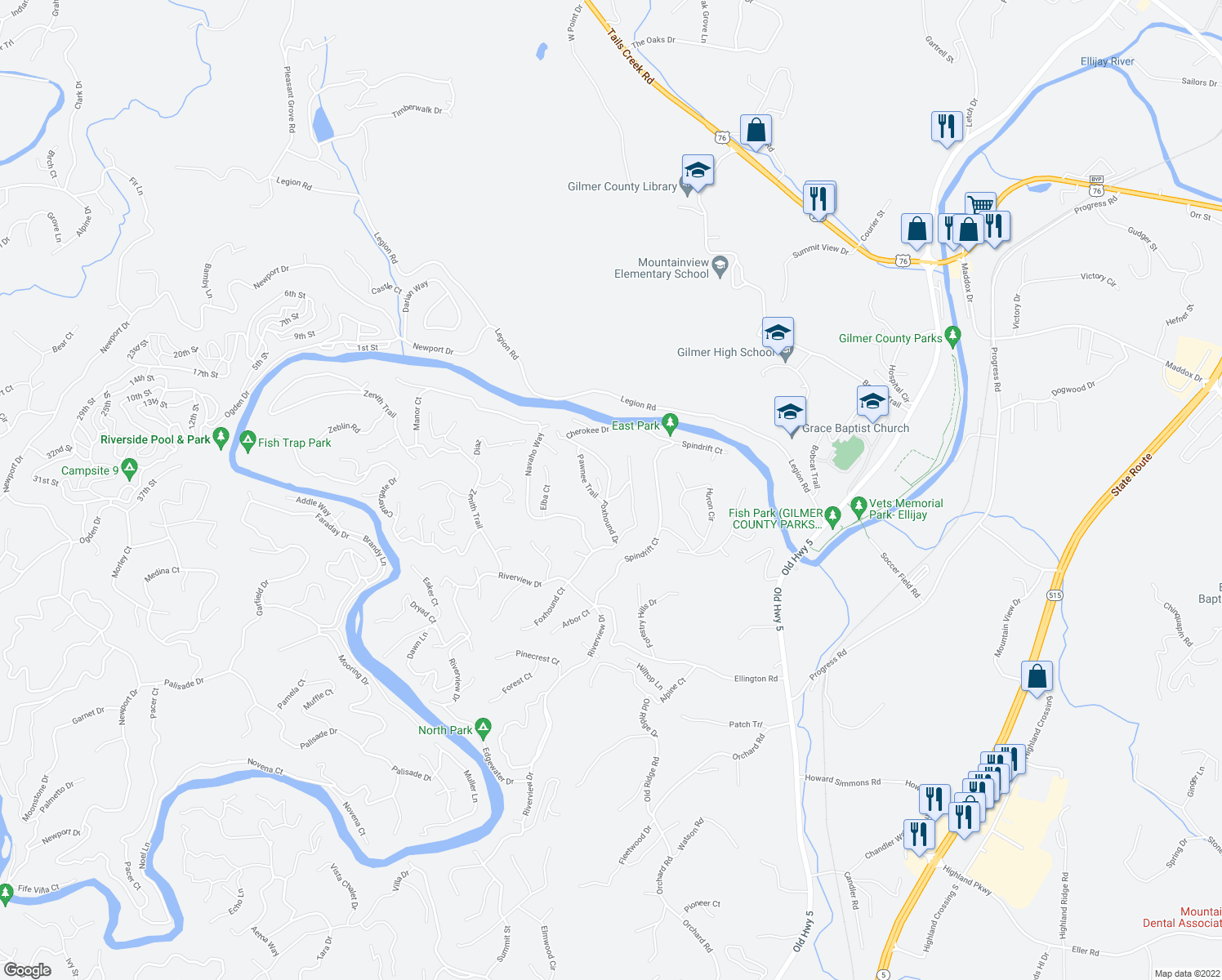 map of restaurants, bars, coffee shops, grocery stores, and more near Cherokee Drive in Ellijay