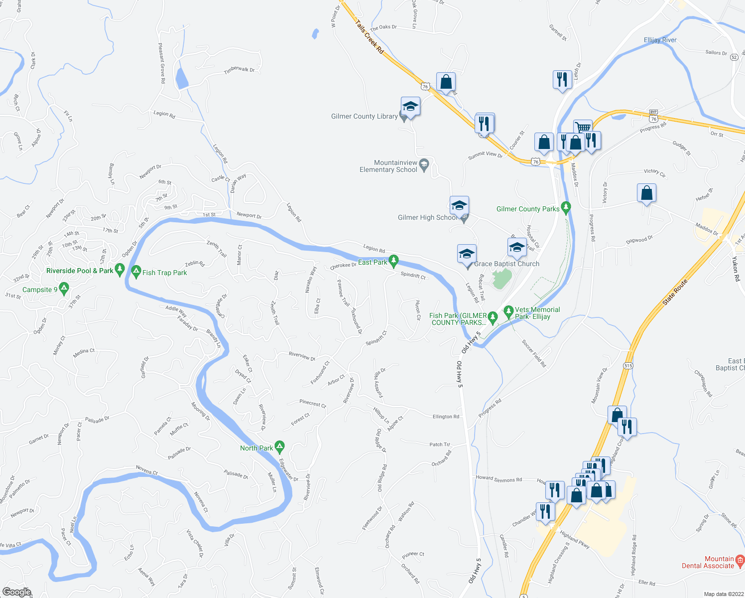 map of restaurants, bars, coffee shops, grocery stores, and more near 202 Mohawk Trail in Ellijay