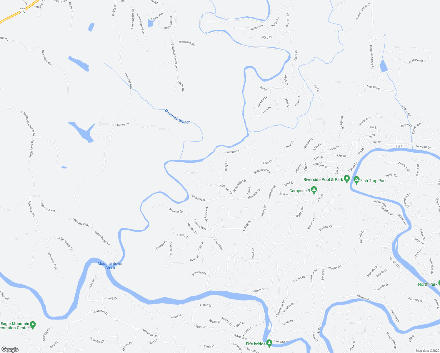 map of restaurants, bars, coffee shops, grocery stores, and more near Ashley Drive in Ellijay