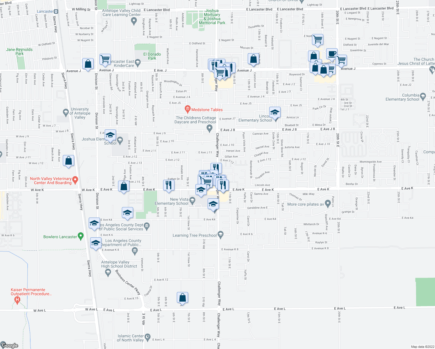 map of restaurants, bars, coffee shops, grocery stores, and more near East Avenue J 14 in Lancaster