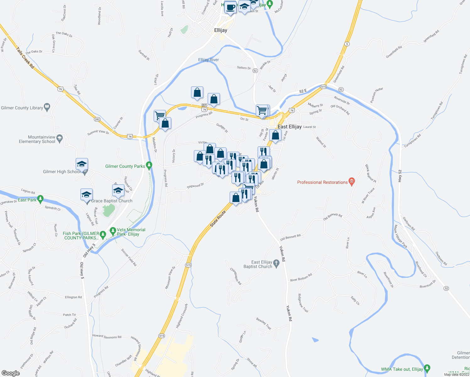 map of restaurants, bars, coffee shops, grocery stores, and more near 61 Maddox Circle in East Ellijay