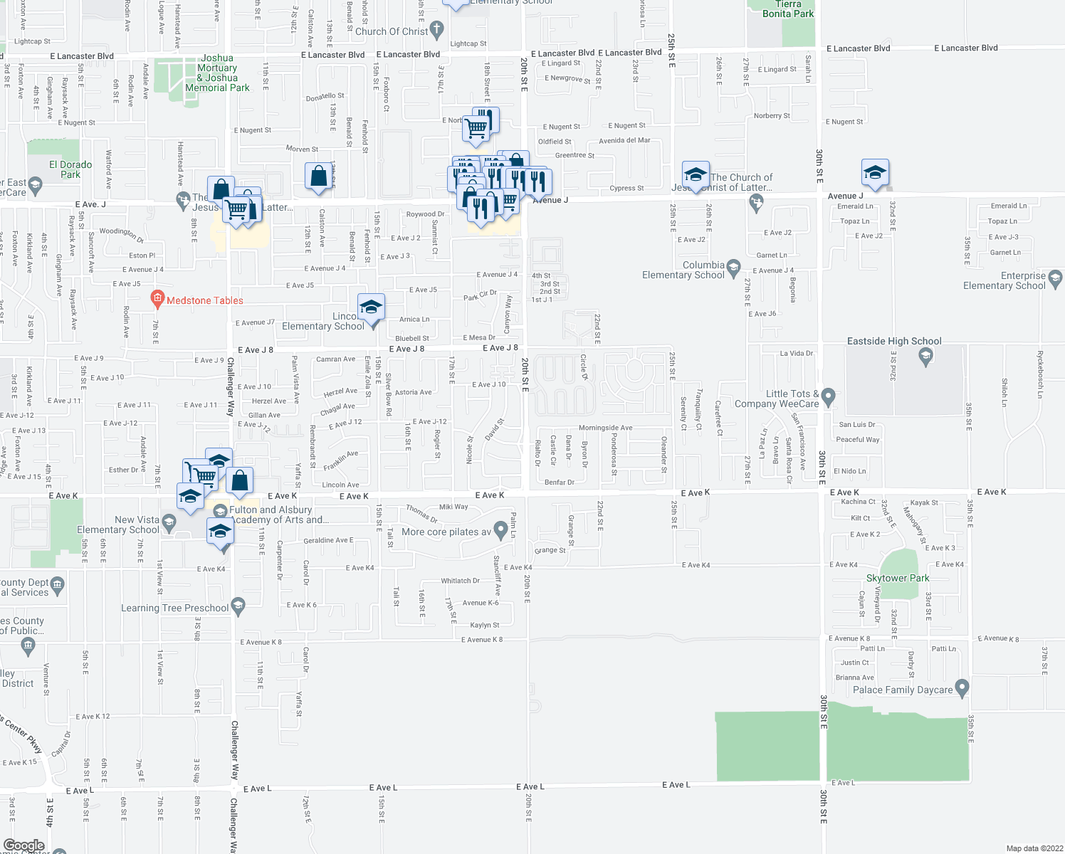 map of restaurants, bars, coffee shops, grocery stores, and more near 43809 Roth Street East in Lancaster