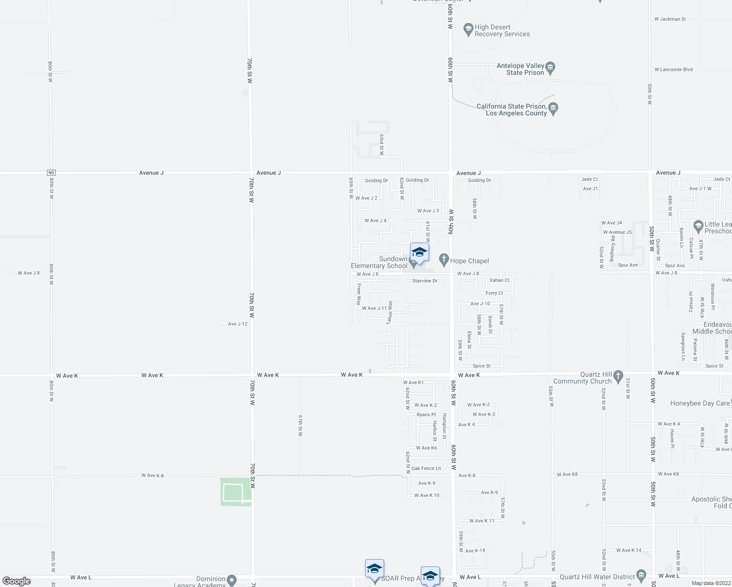 map of restaurants, bars, coffee shops, grocery stores, and more near 43913 Encanto Way in Lancaster