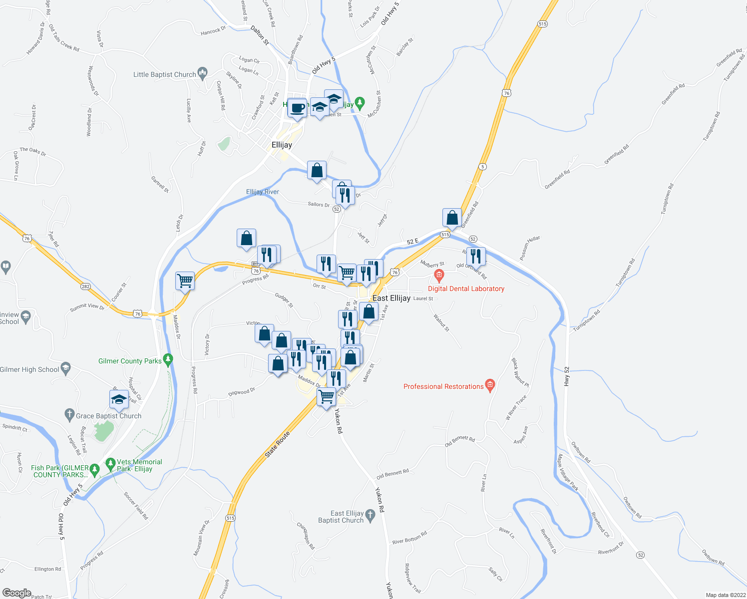map of restaurants, bars, coffee shops, grocery stores, and more near in East Ellijay