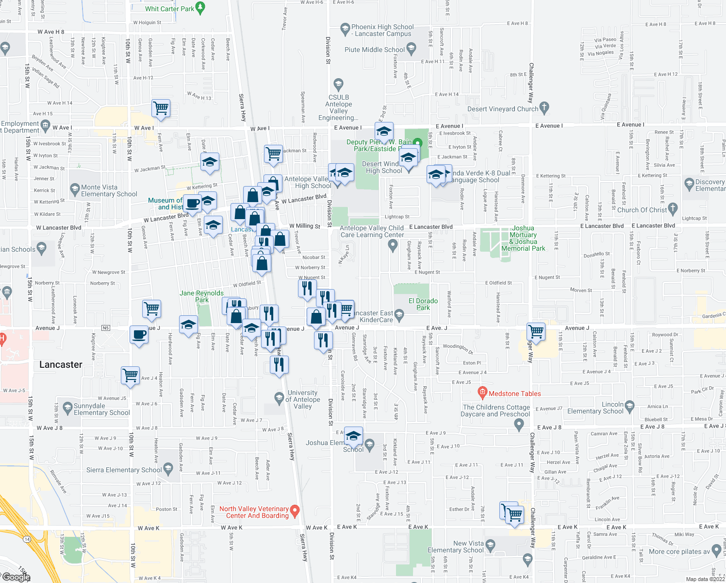 map of restaurants, bars, coffee shops, grocery stores, and more near 44521 2nd Street East in Lancaster
