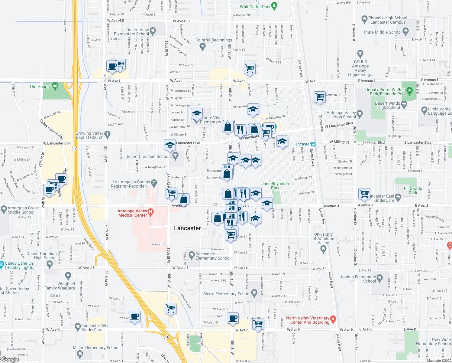 map of restaurants, bars, coffee shops, grocery stores, and more near 1001 Anvers Avenue in Lancaster