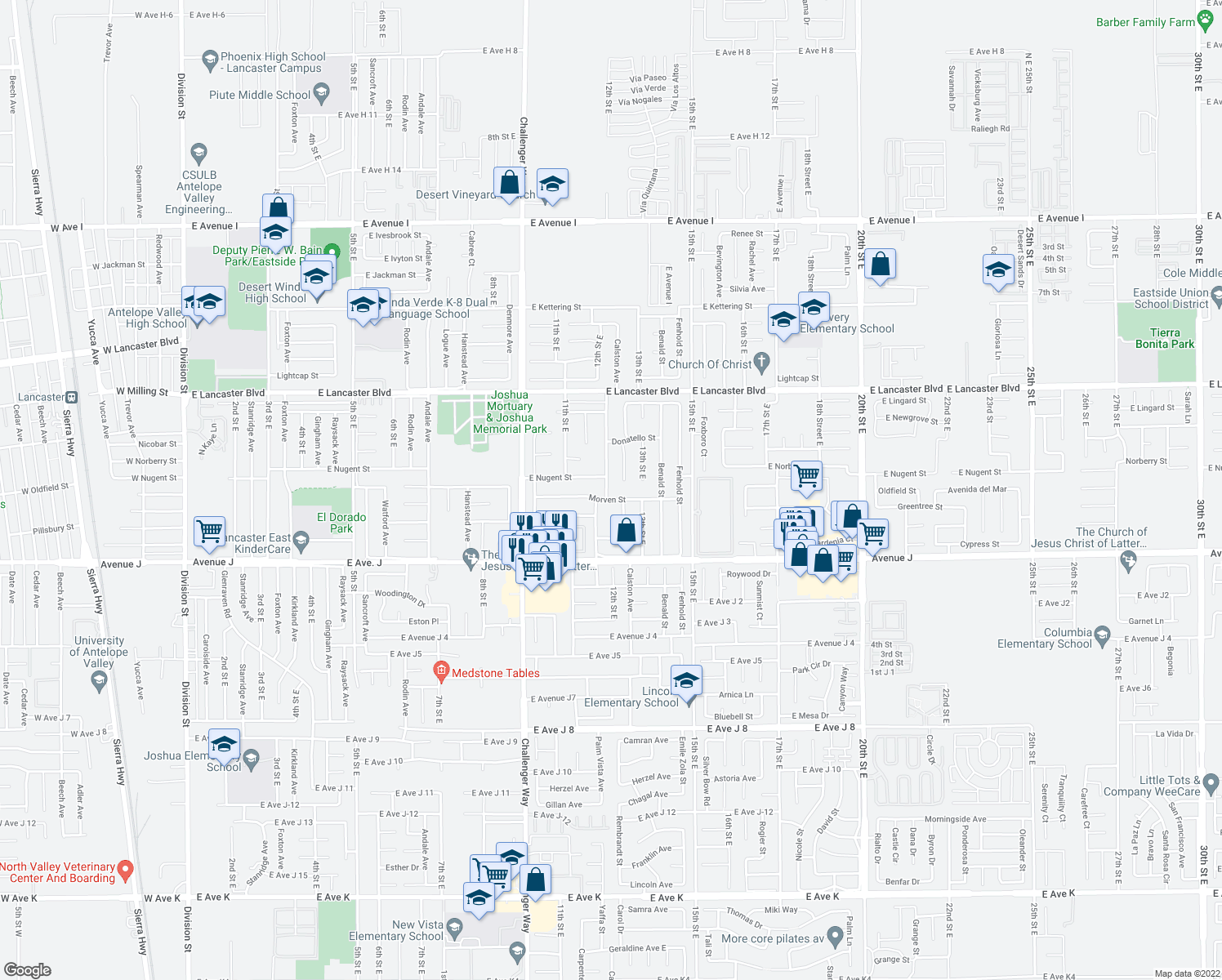 map of restaurants, bars, coffee shops, grocery stores, and more near 44514 Palm Vista Avenue in Lancaster