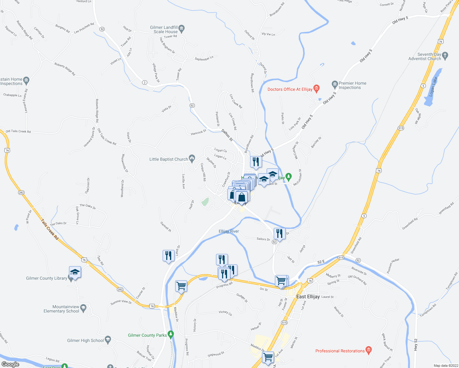 map of restaurants, bars, coffee shops, grocery stores, and more near 2 Kell Street in Ellijay