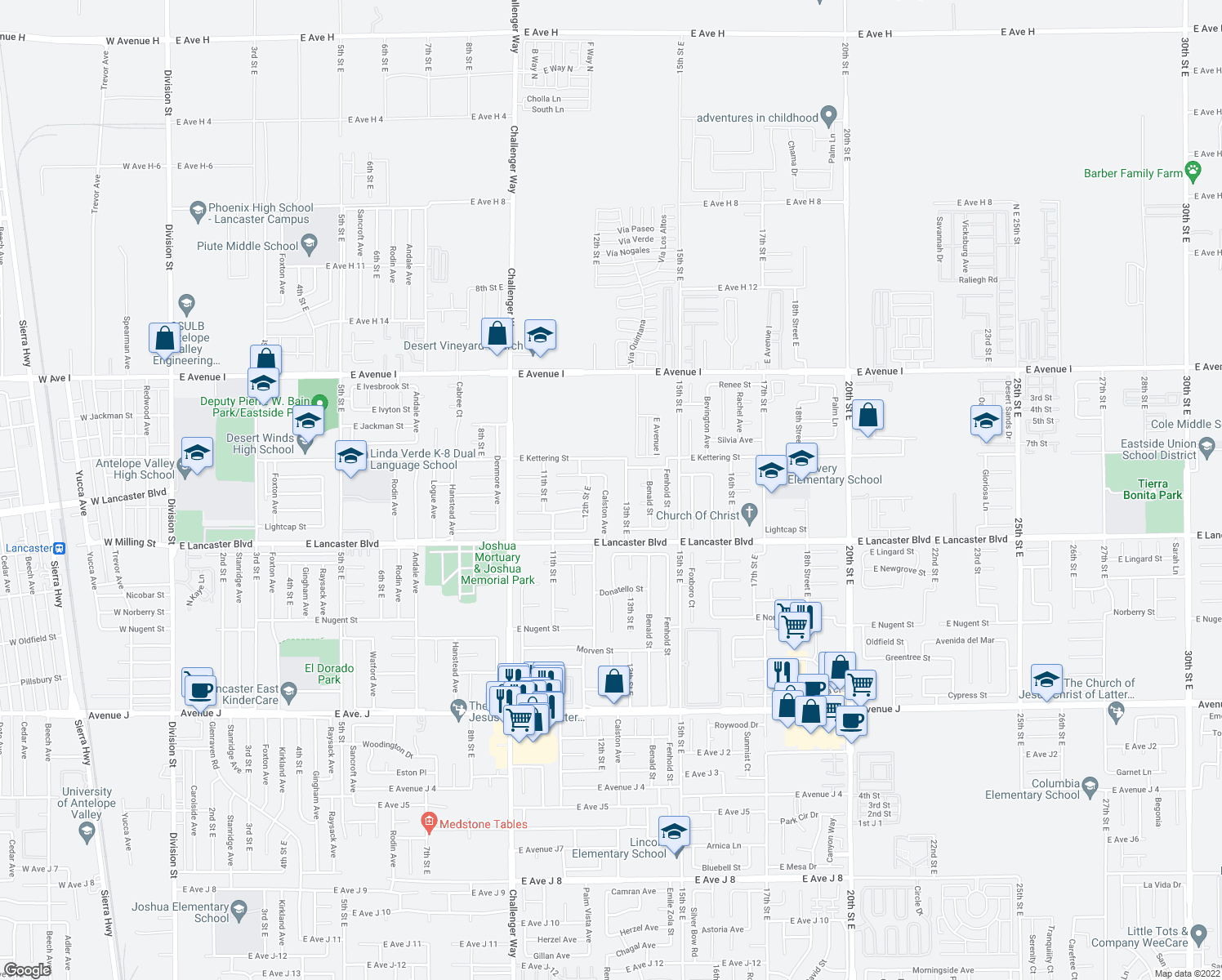 map of restaurants, bars, coffee shops, grocery stores, and more near 44920 Calston Avenue in Lancaster