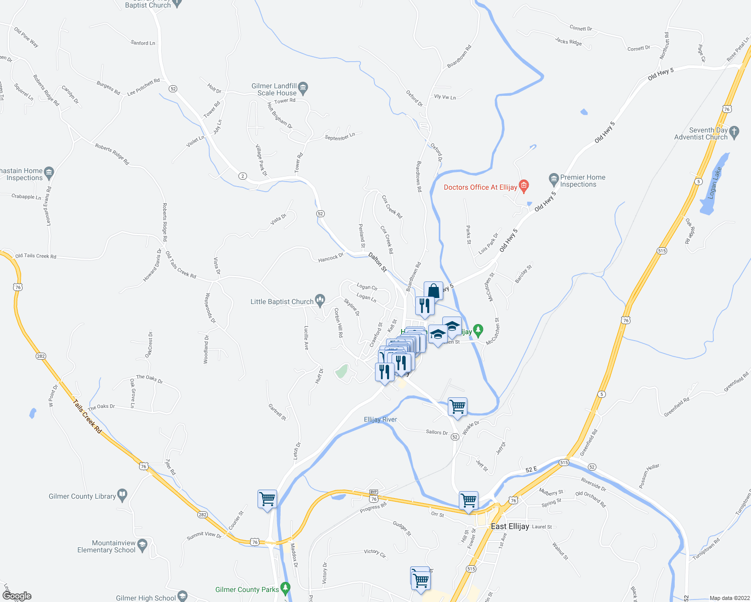 map of restaurants, bars, coffee shops, grocery stores, and more near 66 Logan Lane in Ellijay