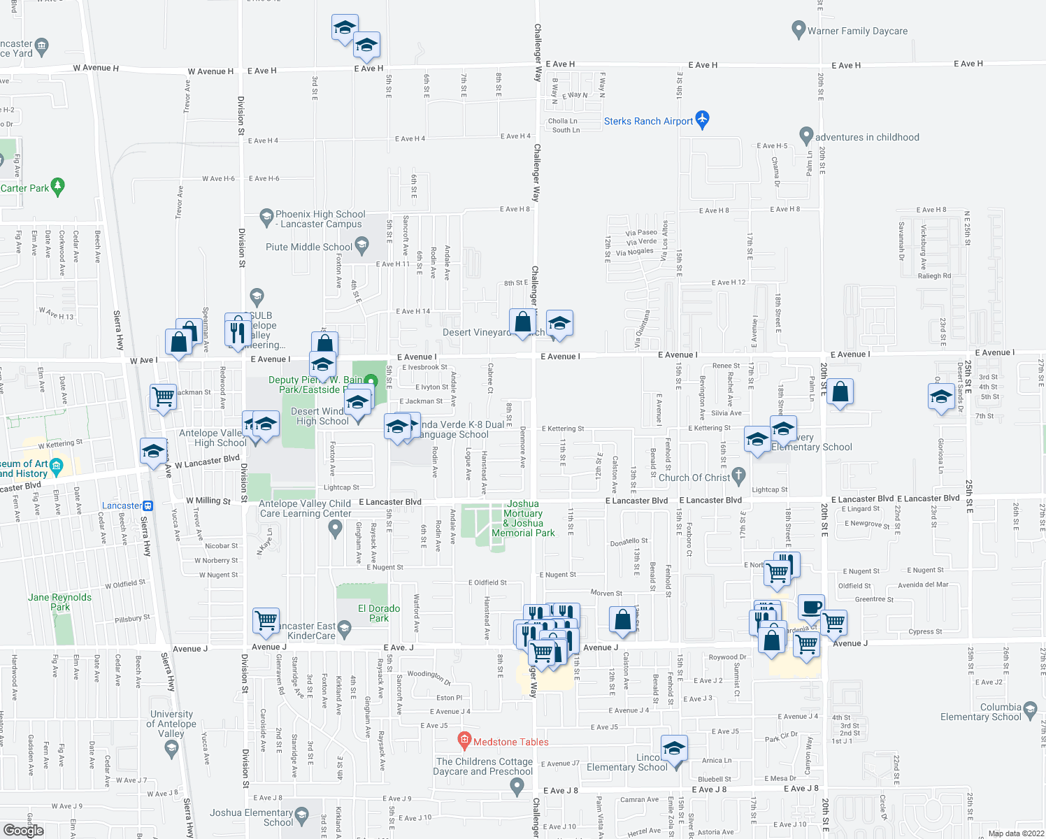 map of restaurants, bars, coffee shops, grocery stores, and more near 45014 Denmore Avenue in Lancaster