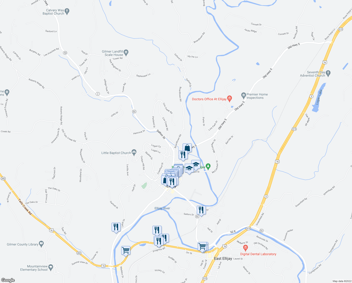 map of restaurants, bars, coffee shops, grocery stores, and more near 171 Boardtown Road in Ellijay