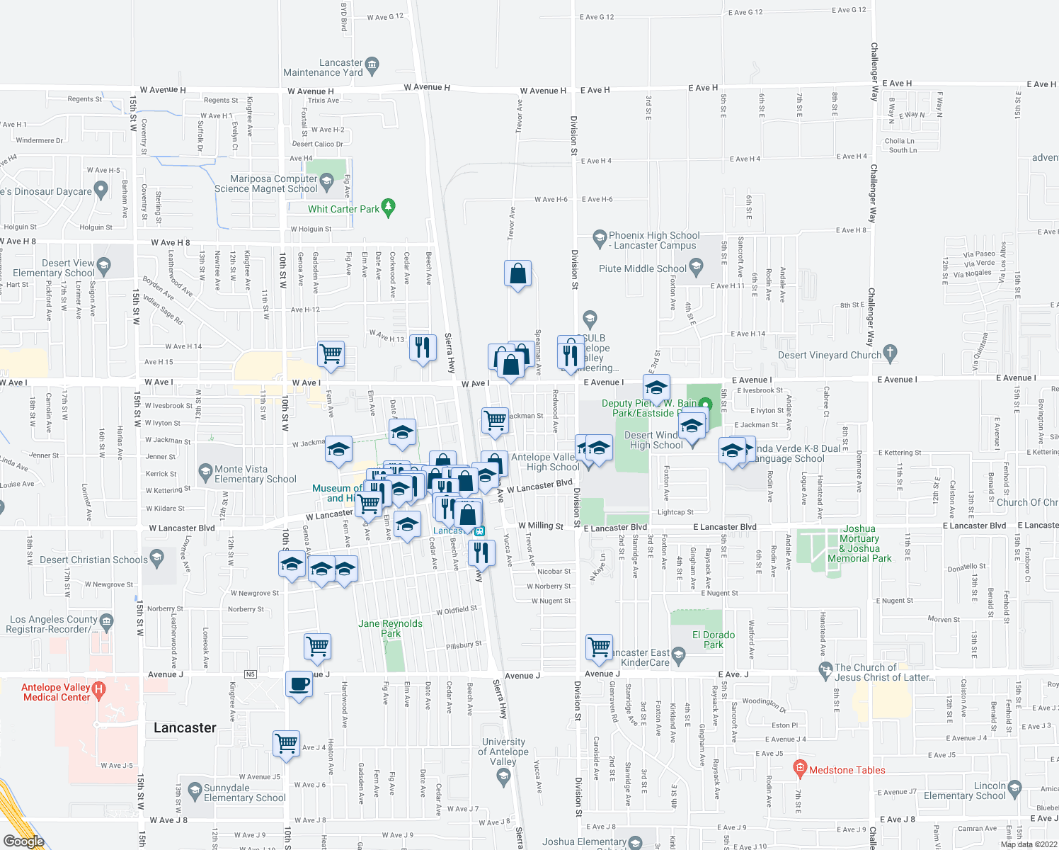 map of restaurants, bars, coffee shops, grocery stores, and more near 45104 Trevor Avenue in Lancaster