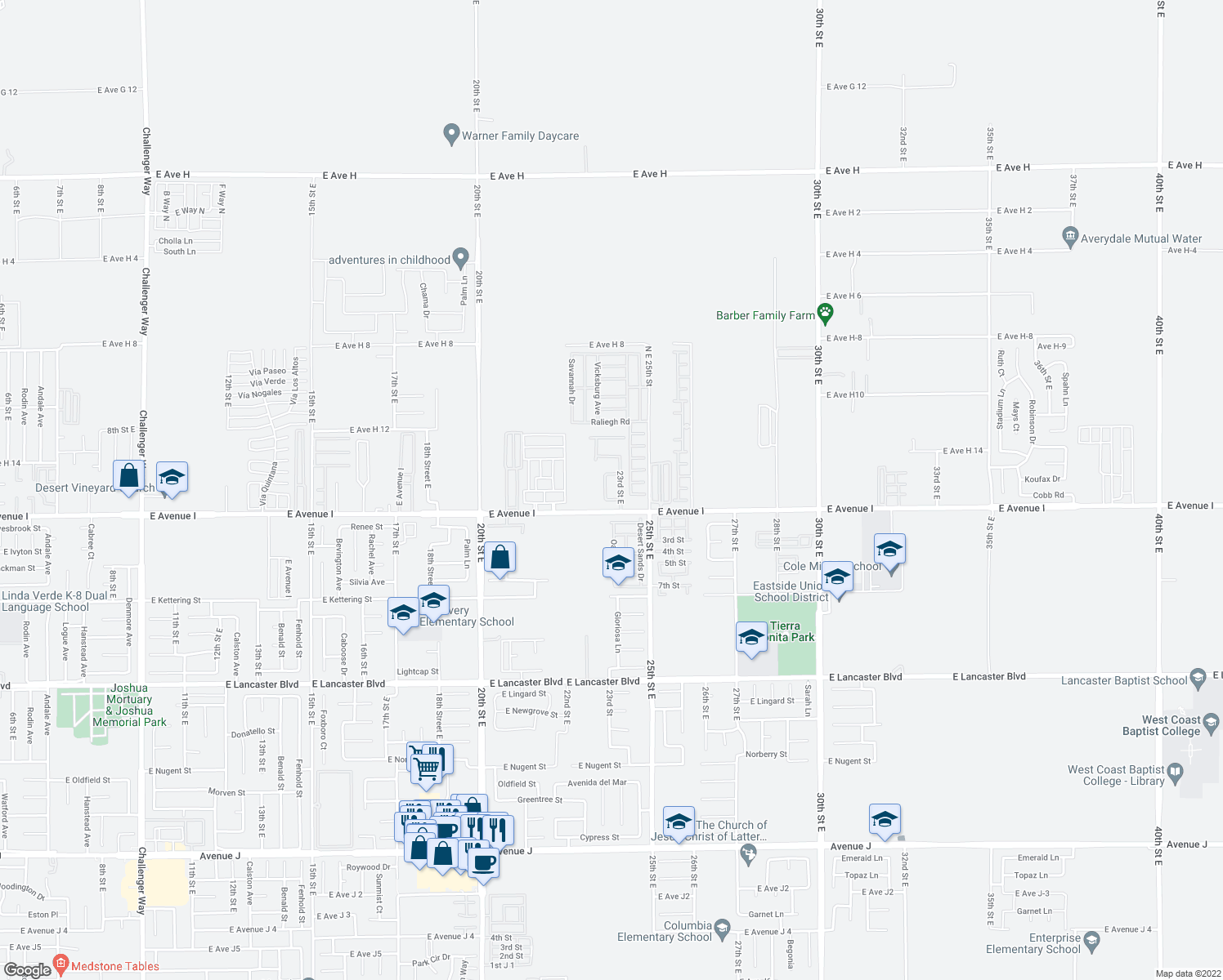map of restaurants, bars, coffee shops, grocery stores, and more near 45254-45344 23rd Street East in Lancaster