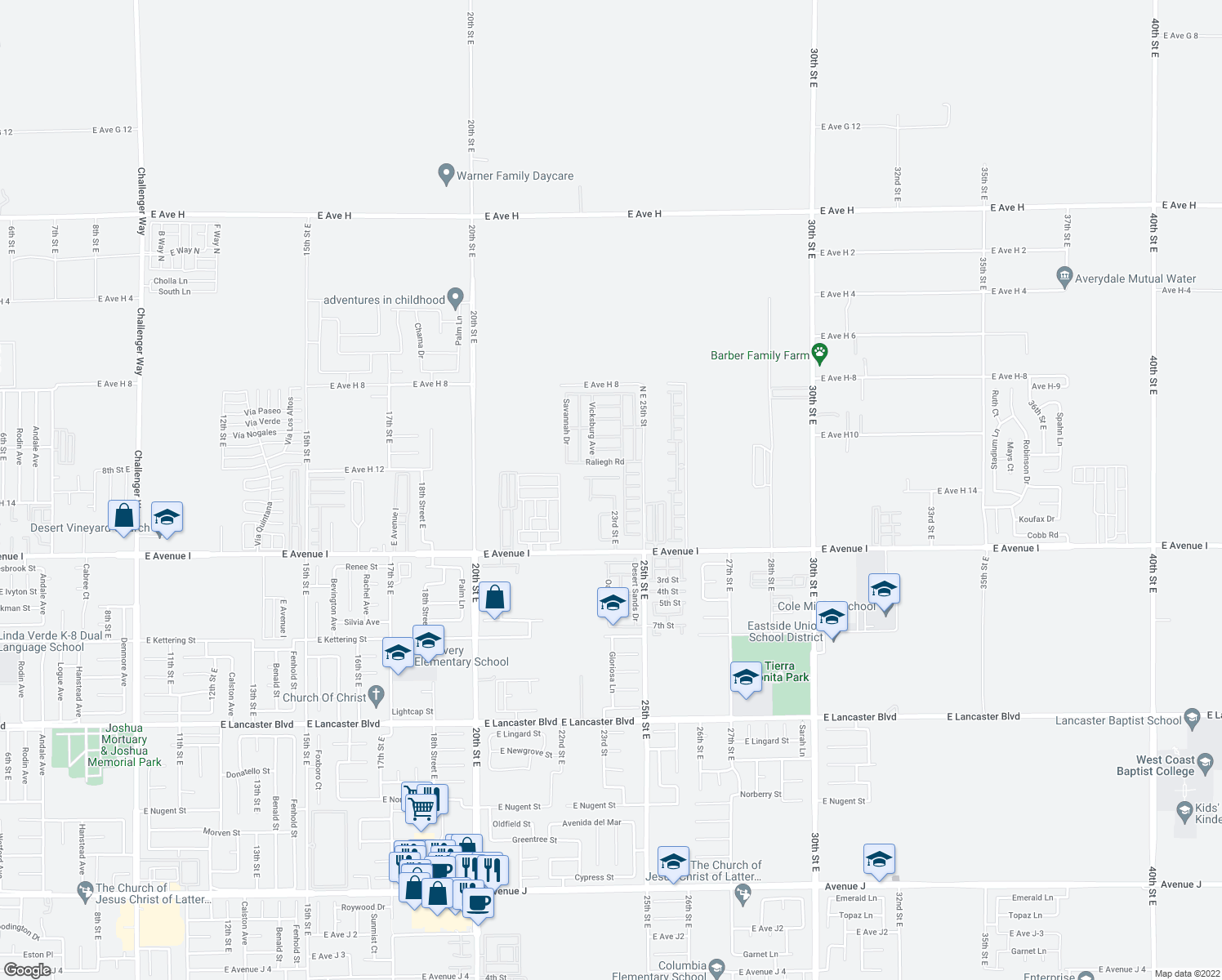 map of restaurants, bars, coffee shops, grocery stores, and more near 2301 Tucson Street in Lancaster