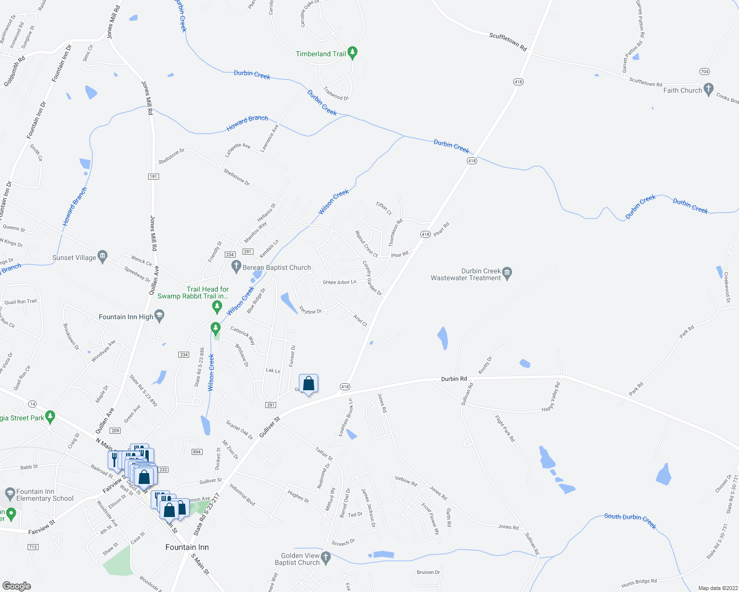 map of restaurants, bars, coffee shops, grocery stores, and more near 306 Mint Leaf Court in Fountain Inn