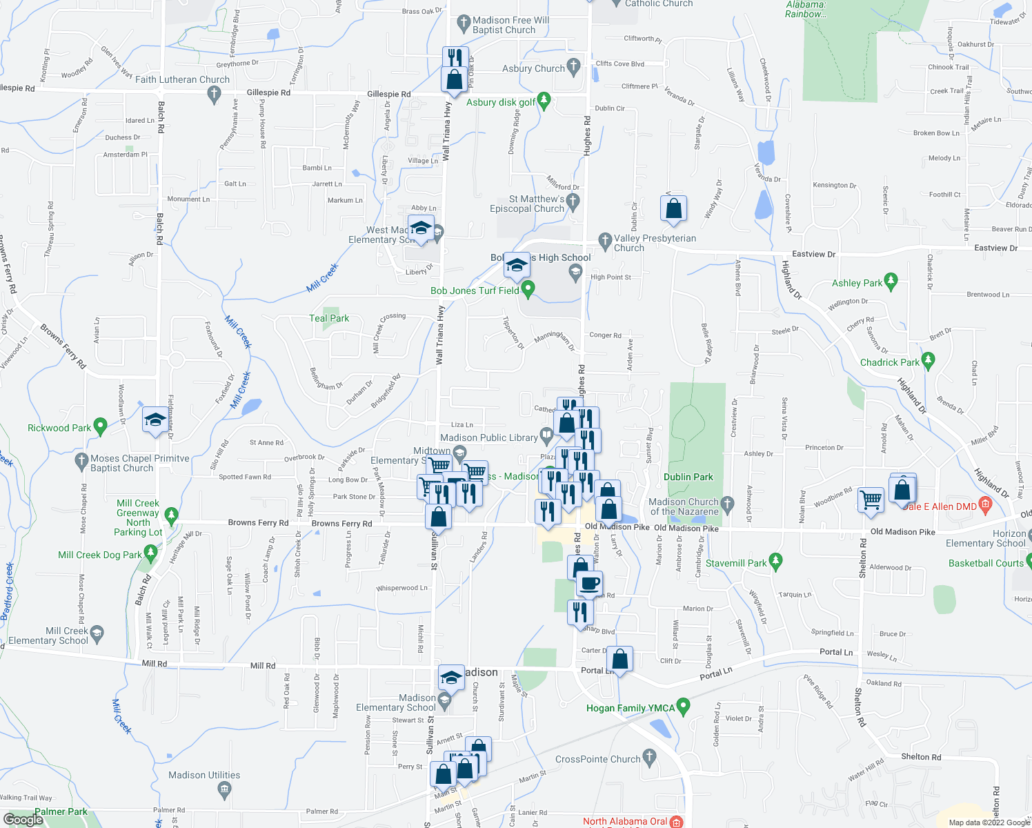 map of restaurants, bars, coffee shops, grocery stores, and more near 1263 Cathedral Circle in Madison