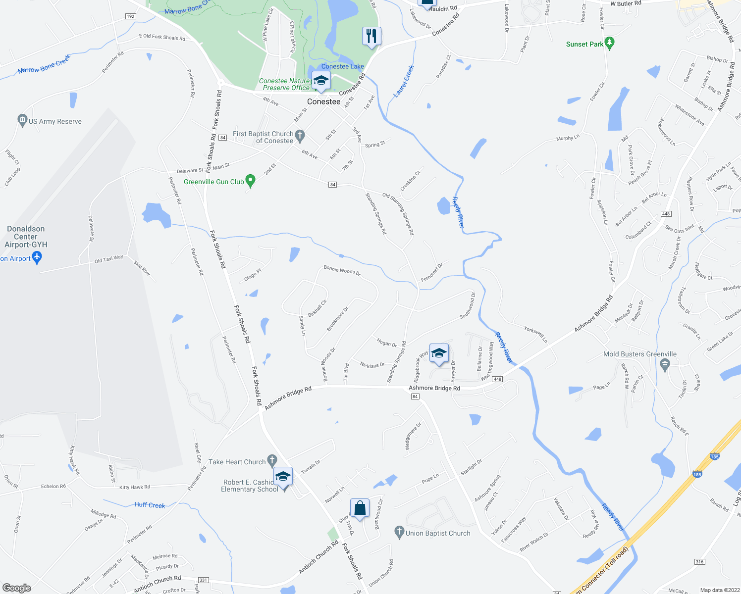 map of restaurants, bars, coffee shops, grocery stores, and more near 69 Brockmore Drive in Greenville