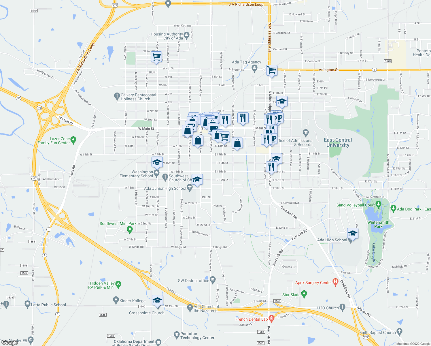 map of restaurants, bars, coffee shops, grocery stores, and more near 109 East 16th Street in Ada